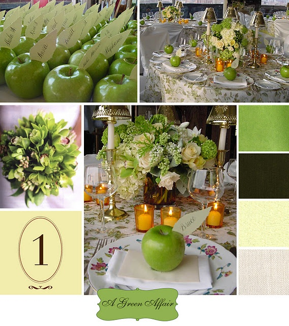 """A Green Affair"" Green Granny Smith Apple escort cards and green apple wedding reception centerpieces"