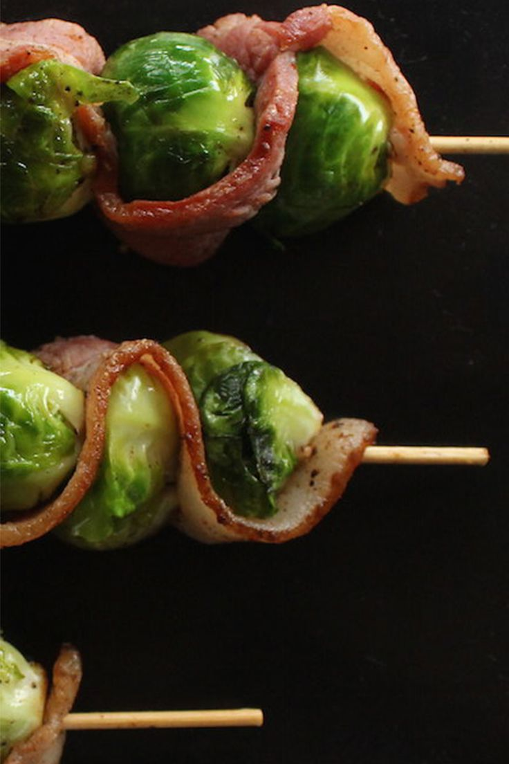 Bacon and brussels sprouts skewers: This satisfying recipe helps keeps portions in check, they clock in at just over 150 calories.