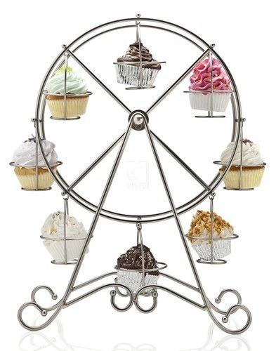 Bring the fun to your next party with our ferris wheel #cupcake holder. #centerpieces #cupcakeholder #ferriswheel #carnival #serveware #birthday #birthdayparty #carnivalwedding #carnivalparty #decorations