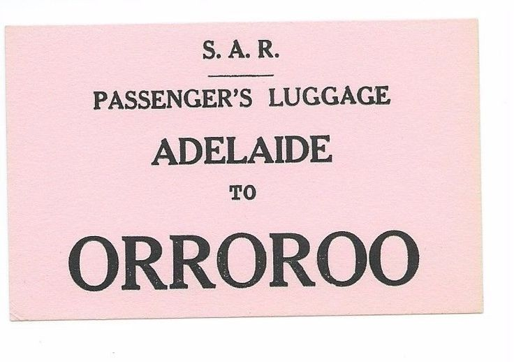 SAR Luggage Label ADELAIDE - ORROROO