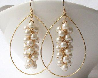 Large Pearl Earrings, Large Pearl Cluster Earrings