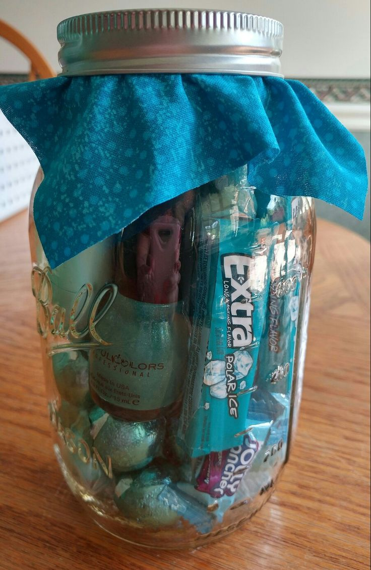 Wanted to TEAL you Happy Birthday. For a friend's birthday, I got an assortment of teal items in various shades and stuffed all I could into a Mason Jar. EOS Lotion, some teal Washi tape, teal nail polish, teal balloons, teal wrapped assorted candies, etc. Very simple gift, but the recipient loved the fact it was made for her.