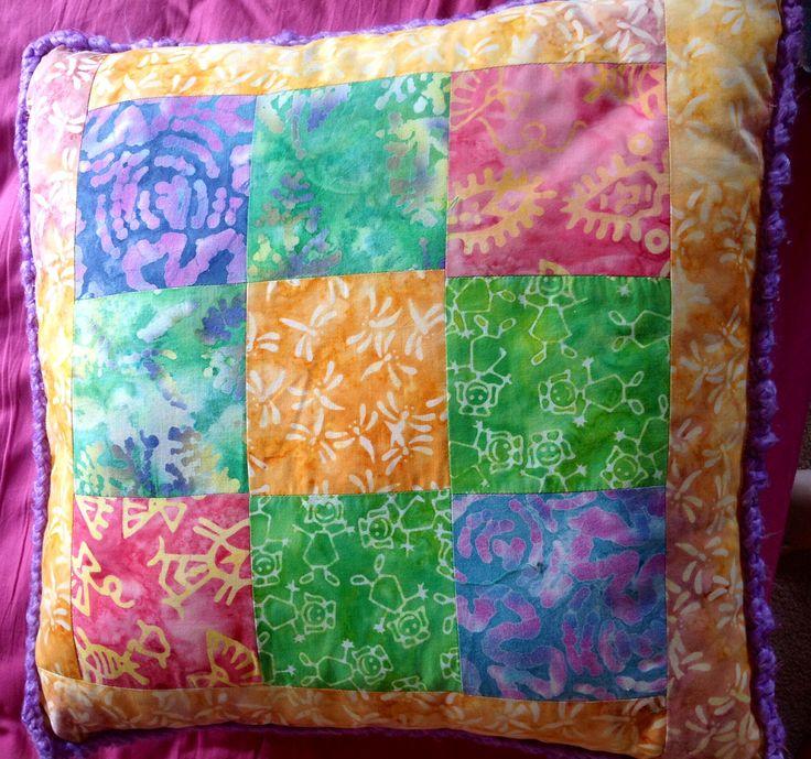 Patchwork batik cushion with crotchet edging