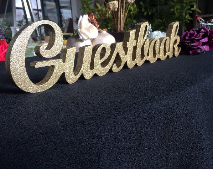 Segno di legno glitter oro Guestbook per matrimonio ricevimento ospiti libro matrimonio segno di nozze