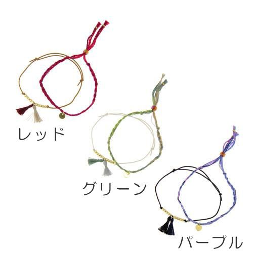 イヤなスパーク放電を防ぐ! 【ゆうメール配送可能 【Anti Static】静電気防止ブレスです。  二連使いが出来るデザインで、刺繍糸とタッセルモチーフを使っています。