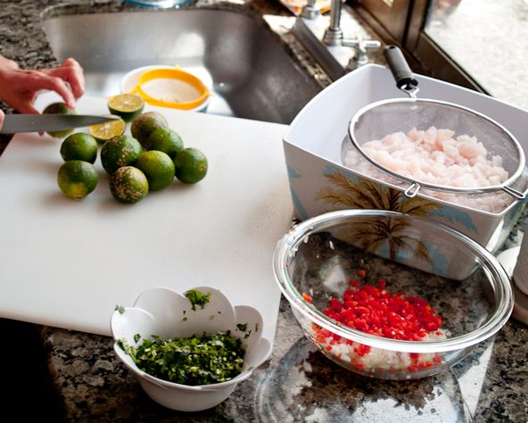 """Costa Rican Ceviche - ginger ale (yep, you read that right) is not paleo but someone had the good suggestion of using fresh ginger and club soda.  And bubbles are fun...""""bubbles, bubbles, bubbles...my bubbles"""""""
