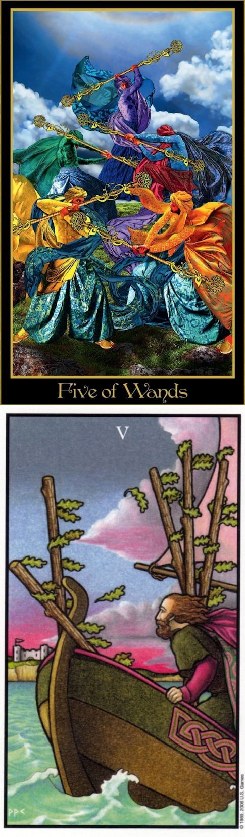 Five of Wands: playfighting and avoiding a potentially beneficial conflict (reverse). Illuminati Tarot deck and Connolly Tarot deck: tarot card readings, free accurate tarot reading vs free tarot reading predictions. Best 2017 oracles woman and divination methods. #iosapplication #justice #witchy #altar #devil #themoon