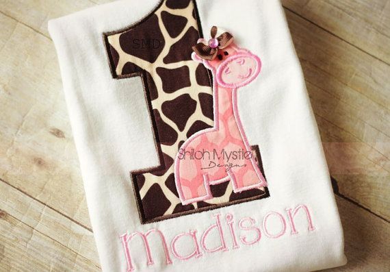 Pink Giraffe Birthday shirt-Giraffe Birthday onesie-giraffe birthday shirts-Giraffe Personalized birthday shirts-Zoo birthday party on Etsy, $24.49 I like the idea of the animals with buttons & bows