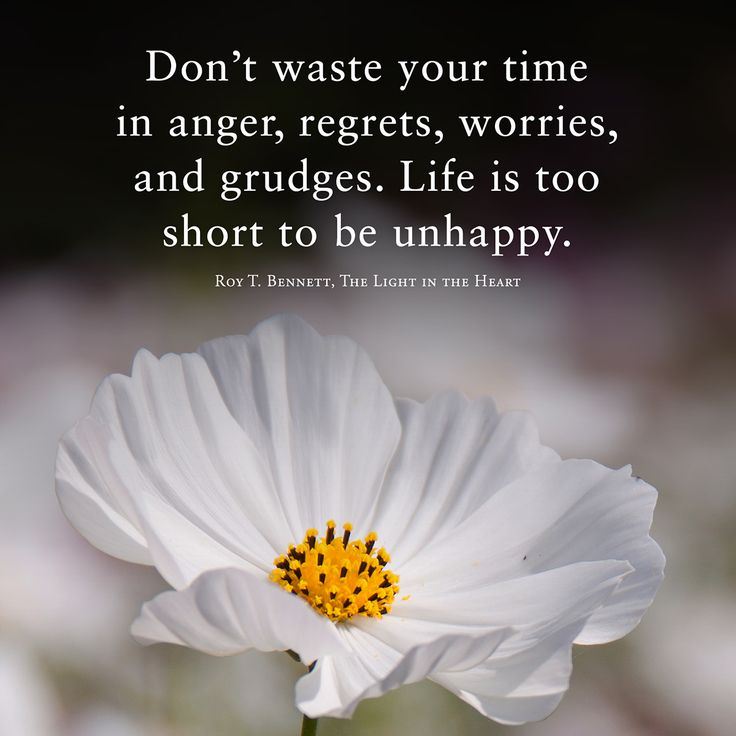 Don't waste your time in anger, regrets, worries, and grudges. Life is too short to be unhappy. Roy T. Bennett, The Light in the Heart