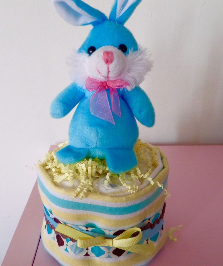Blue And Yellow Small Diaper Cake