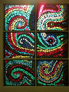stained glass mosaic I made with my 3rd graders to relate to their study of Ancient Rome.