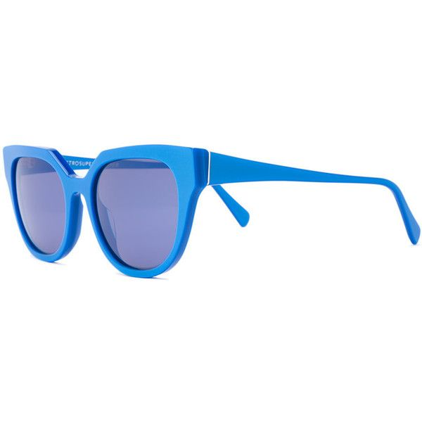 Retrosuperfuture Zizza Opaco Blue sunglasses (£170) ❤ liked on Polyvore featuring accessories, eyewear, sunglasses, blue glasses, retrosuperfuture sunglasses, blue sunglasses, acetate glasses and retrosuperfuture