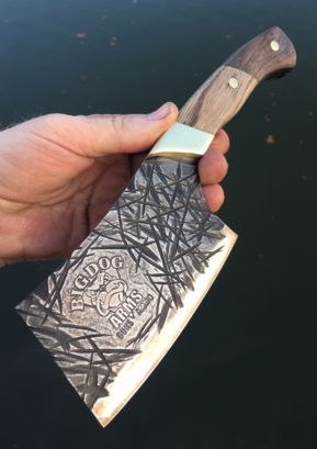 DIY Cleaver with metal etched logo and thatched blade texture. Free step by step instructions. www.DIYeasycrafts.com