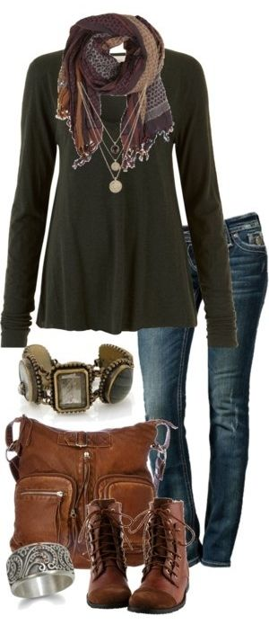 Like this look. Love the scarf with the long necklaces. Boots are right up my ally.