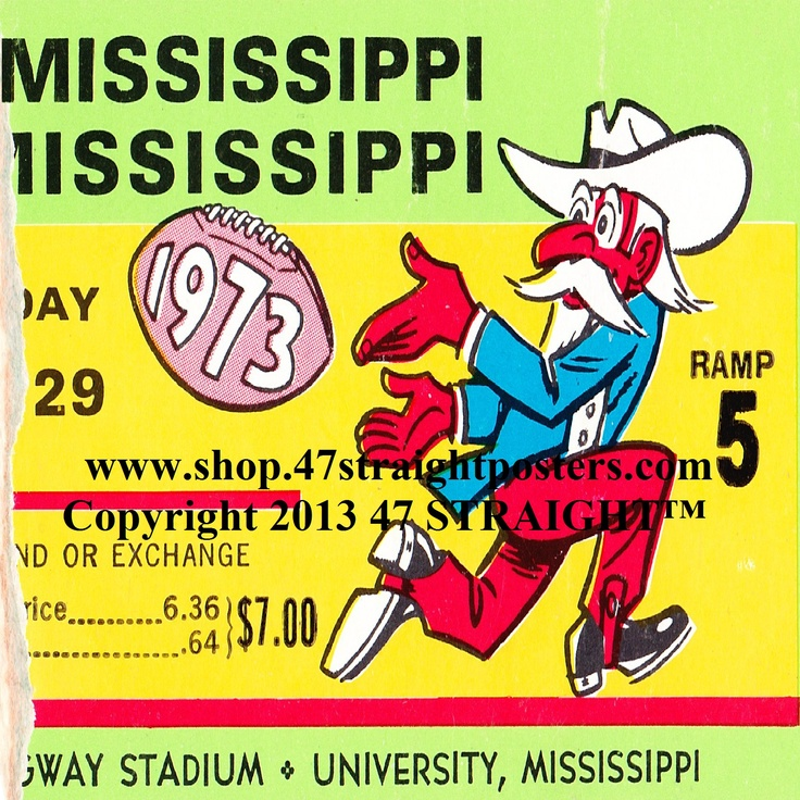 1973 Ole Miss Football Ticket Coasters.™ Ole Miss won 41-0 over Southern Miss in this game. Great ceramic drink coasters for football fans!  47 STRAIGHT.™ The best football gifts in America.™ https://www.facebook.com/47STRAIGHT Follow us on Facebook!