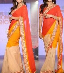 Buy Shilpa Shetty Fancy Designer Red saree with blouse shilpa-shetty-saree online