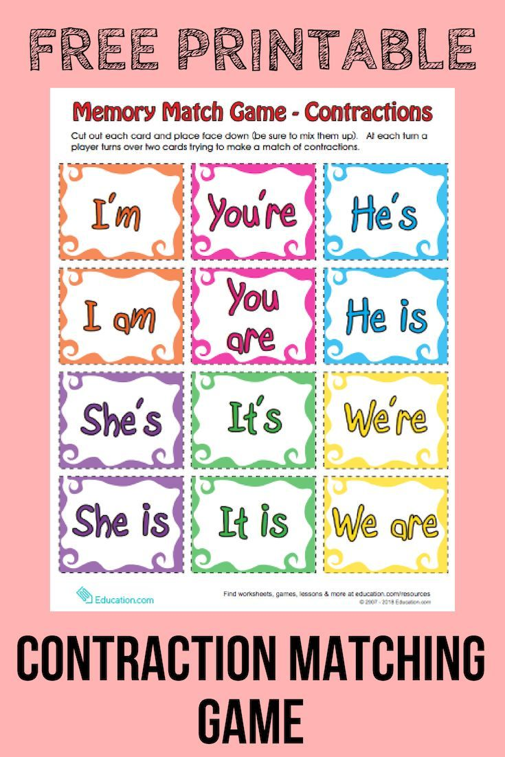 Contraction Matching Game Try Out This Memory Matching Game Which Provides Visual Reinforcement O Matching Games Memory Match Game Primary English Activities [ 1102 x 735 Pixel ]