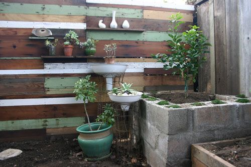 Found wood garden wall