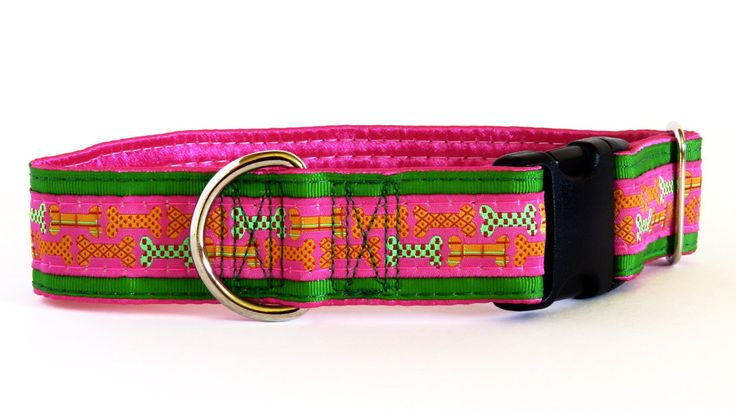 Bones Pink Satin Lined Dog Collar on sale at www.ColossusCanine.com now!