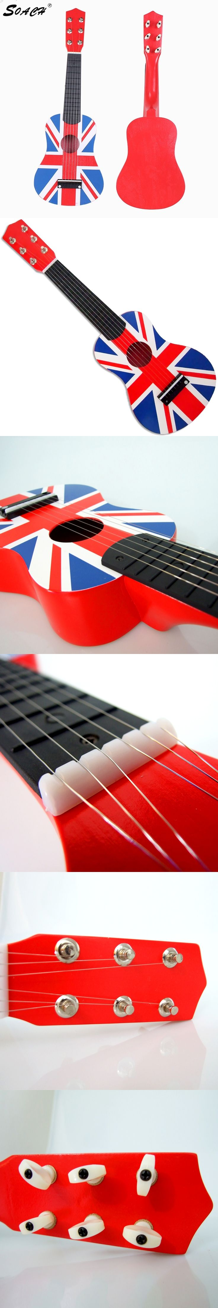 "SOACH High quality Guitarra Red British flag Flag Professional 21"" Acoustic Music 6 Steel String"