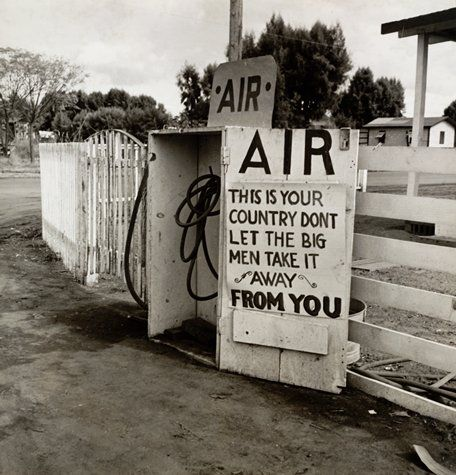 "Dorothea Lange, ""Gas Station, Kern County, California"" (1938) | photograph | gelatin silver print    Source: http://www.sfmoma.org/explore/collection/artwork/103817#ixzz1jkVHt0X7   San Francisco Museum of Modern Art"