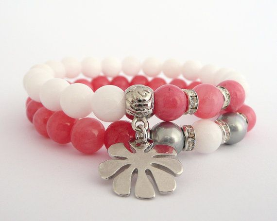 Gemstone+Stretch+Set+of+Bracelets+White+Agate+and+by+MONADESING