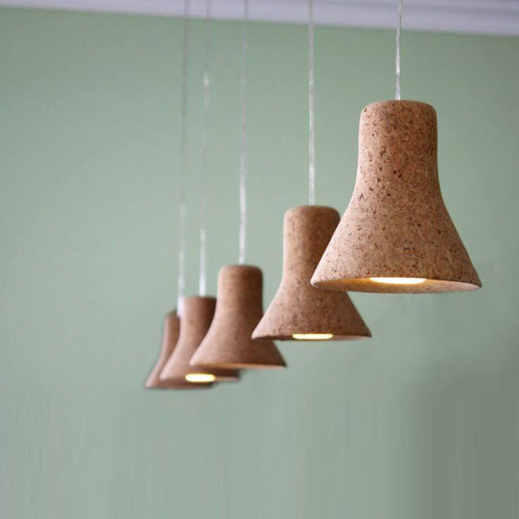 Cork Pendant Lamps by SOWHAT? PPP. Dimensions: 14 x 14cm.