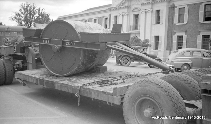 Horse drawn type roller converted for use with tractor 1952. VicRoads Centenary 1913-2013.