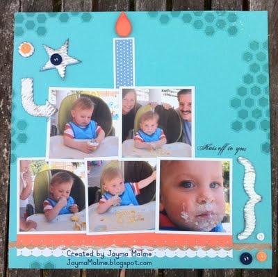 First birthday cake scrapbook layout