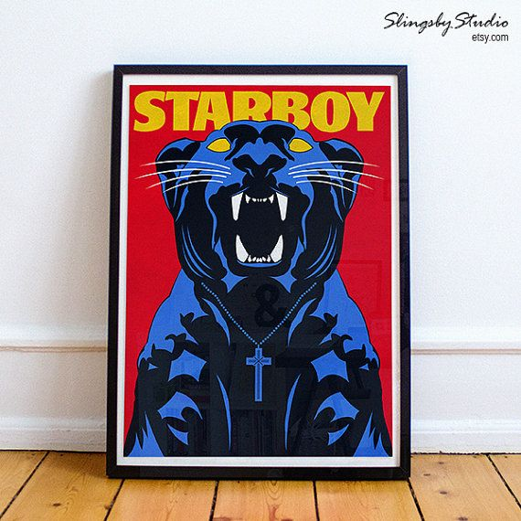 Starboy Panther Poster - The Weeknd ( A4, A3, A2, A1) House so empty need a centrepiece? A totally unique The Weeknd - starboy poster with illustrated panther inspired by the music video and album cover, would make a great addition to any fans home #starboy #theweeknd #mancave #music #homedeco