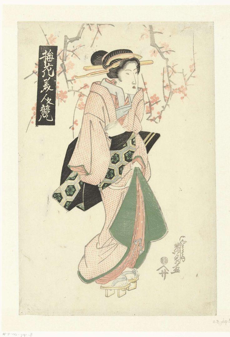 Courtisane onder pruimenbloesem, Keisai Eisen, Otaya Sakichi, 1820 - 1830