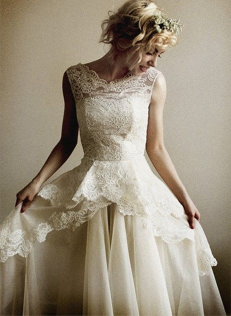 I don't normally repin wedding dresses, but I love the lace on this one.
