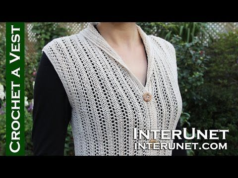 Crochet a collared cardigan vest lace jacket - ear of ...