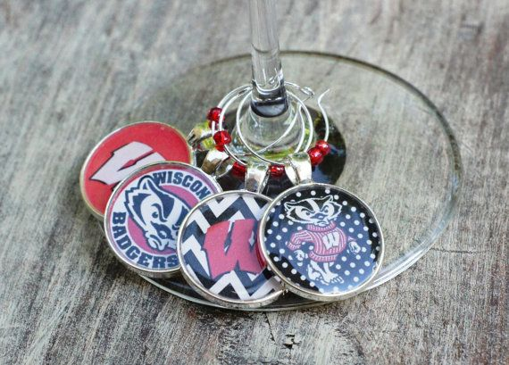 University of Wisconsin Silver Wine Charms set of 4