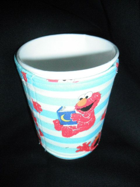 Elmo, Elmo Coffee Cup Sleeves, Coffee Cozy,  Cup Cozy, Kids Cup Sleeve, Fabric Cup Sleeve, Reusable Cup Sleeve by GuyPlusSEWING on Etsy
