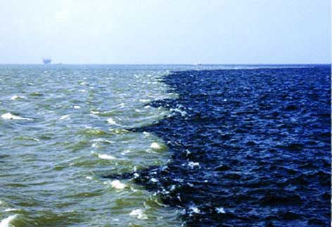 That's the Mississippi River plume meets Gulf of Mexico water at Southwest Pass…