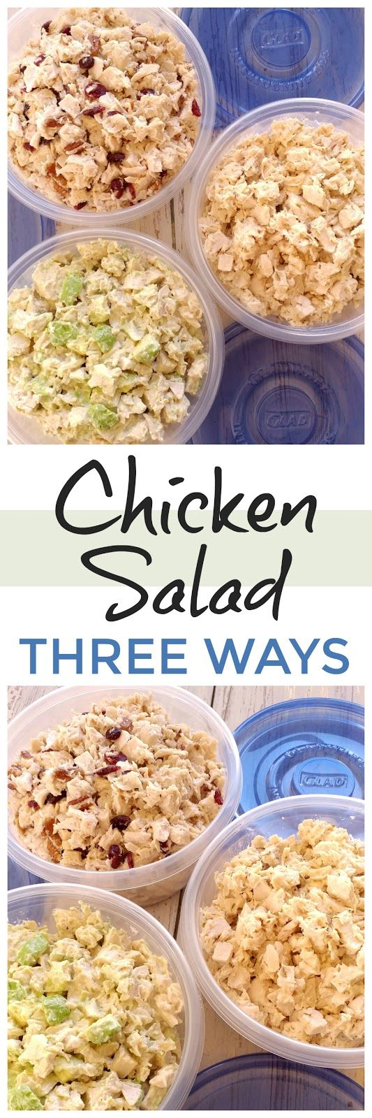 Chicken Salad 3 Ways! Make all three: Cranberry Pecan, Classic and Avocado Ranch Chicken Salad all from one batch of chicken. Perfect for game day and picnics! Keep them fresh with @gladproducts #Glad2WasteLess #ad