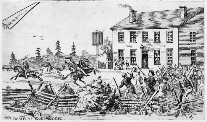 William Lyon Mackenzie (1795-1861), journalist, politician and first mayor of Toronto in 1834, led the unsuccessful rebellion in Upper Canada December 4th & 5th, 1837. His supporters shot and killed Robert Moodie, a British Army officer (shown here), outside John Montgomery's tavern at Yonge & Eglinton.
