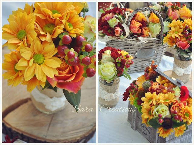 Sara Creations: Flori de toamna: buchet mireasa si aranjamente prezidiu