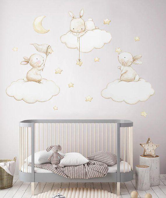 Fabric Wall Decal Bunnies Fishing Stars Nursery Wall Decal