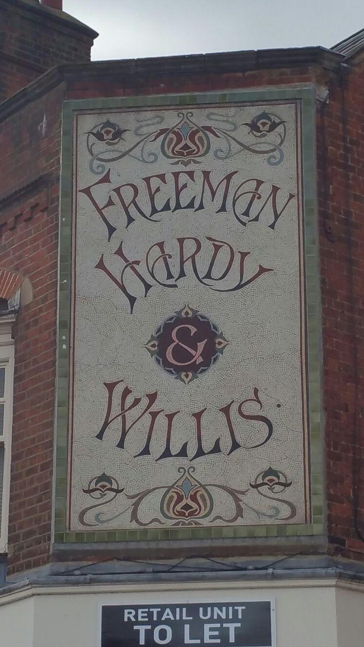 Hitchin Town centre.  Freeman Hardy Willis mosaic