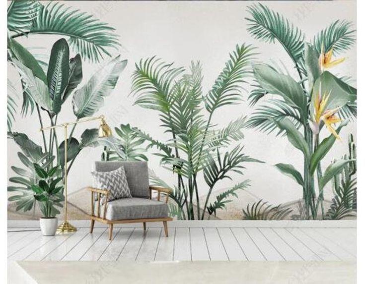 Aquarell Tropische Pflanzen Tapete Bananenblatter Grunpflanzen Garten Fototap Tapete Schlafzimmer Tapeten Tropische Dekoration
