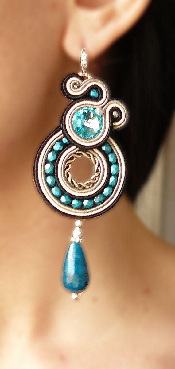 Soutache Earrings Handmade Earrings Hand Embroidered