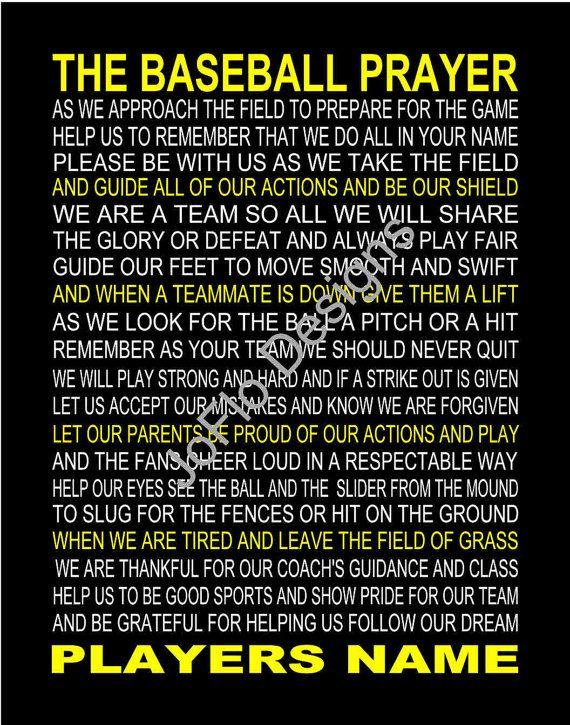 The Baseball Prayer 2 personalized 11 X 14 by joflo33us on Etsy