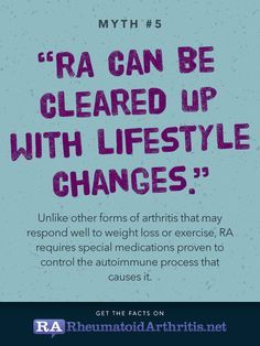 """RA myths and misconceptions. Shouldn't say """"other forms of arthritis..."""" because rheumatoid disease is not a type of arthritis. Arthritis in r.d. is a symptom. Just like rheumatoid disease is not a type of flare. A flare in r.d. is a symptom."""