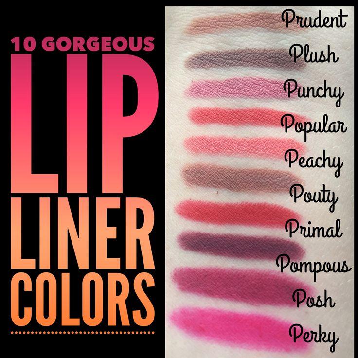 Younique's 10 gorgeous lip liner colors !