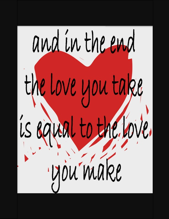 Heart Print with Beatle Lyric Valentine's Day by NewJerseyAccents, $20.00