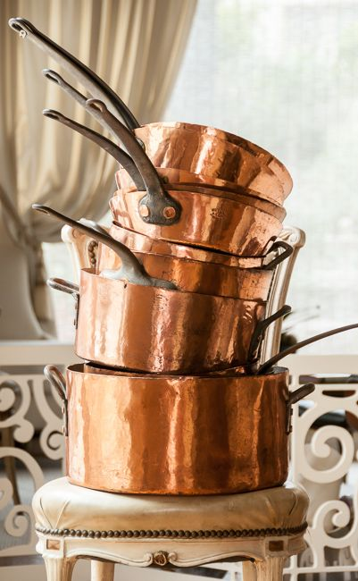 Rare 19th C. Waldorf Astoria Copper Pan(s). We'd love to have these in our kitchen.
