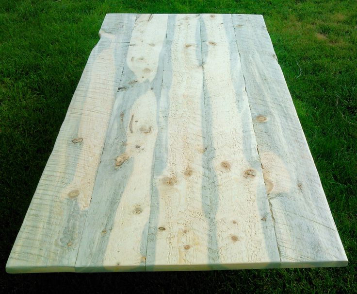 Rustic Table Top Kit Unfinished Rough Lumber Blue Stain