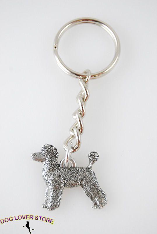 Poodle Dog Fine Pewter Silver Keychain Key Chain Ring Sport Cut
